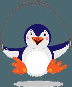 Penguin jumping ropeのクリップアート