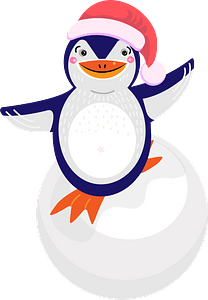 Penguin riding on the snowball clipart