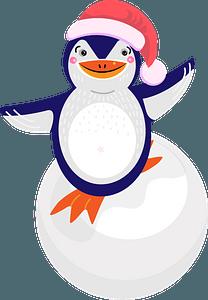 Penguin riding on the snowballのクリップアート
