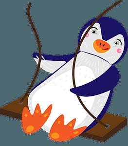 Penguin swinging clipart
