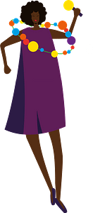 Black woman with a garland clipart