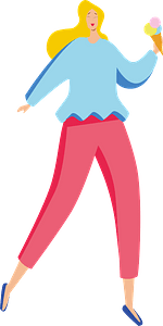 Blonde girl with ice cream clipart