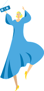 Woman in a blue dress dancing clipart