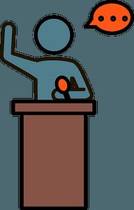 Speaker at podium clipart
