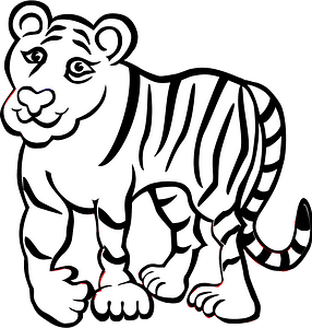 Tiger - Black and white 클립 아트