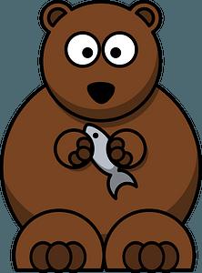 Cartoon bear holding a fish clipart