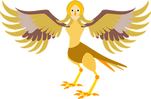 Harpy mythical creature - man and bird clipart