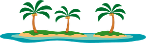 Palm trees on islands clipart