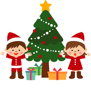 Christmas tree children gifts clipart