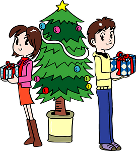 Couple with gifts near Christmas tree clipart