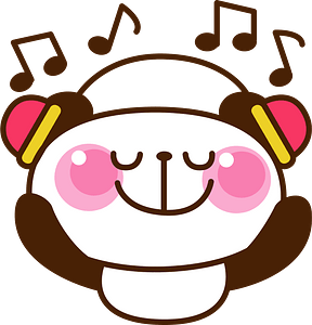 Giant panda is listening to music clipart