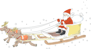 Santa Claus in sleigh pulled by reindeer clipart