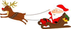 Santa Claus in a sleigh pulled by reindeer clipart
