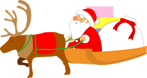 Santa Claus is in a sleigh pulled by reindeer clipart