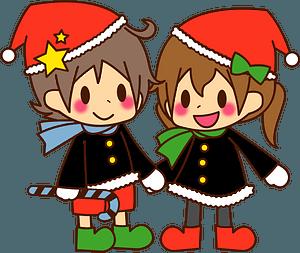Boy girl children Christmas clipart