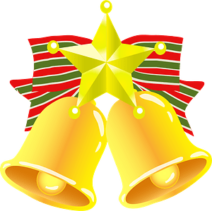Christmas bell and star clipart