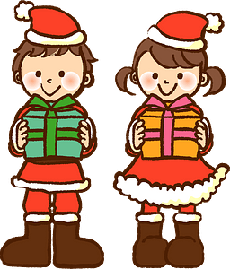 Christmas gifts children clipart