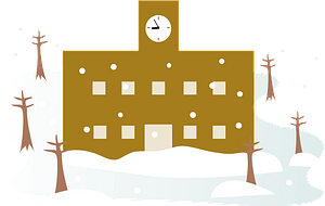 School building in the winter clipart