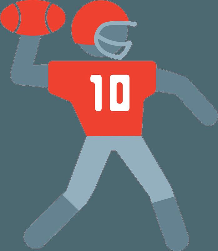 Quarterback throwing clipart