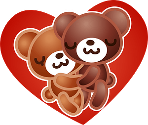 Bears couple in heart clipart