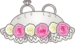 Wedding rings on the pillow clipart