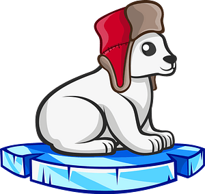Polar bear in fur hat on a piece of floating ice 클립 아트