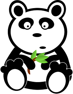Panda with bamboo leaves clipart