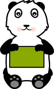 Panda holding a sign clipart