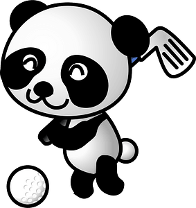 Panda playing golf clipart