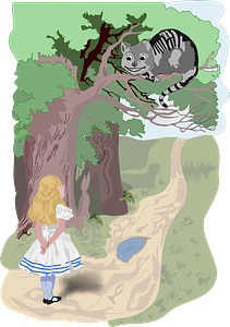 Alice and the Cheshire cat clipart