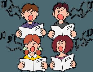 Children singing chorus clipart