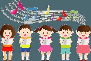 Children singing music clipart