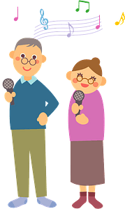 Karaoke singing old couple clipart
