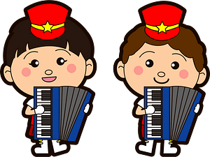 Marching band accordion players clipart