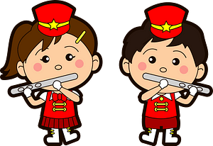 Marching band flute players clipart