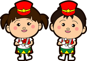 Marching band snare drum players clipart