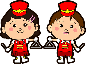Marching band triangle players clipart