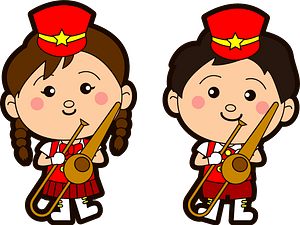 Marching band trombone players clipart
