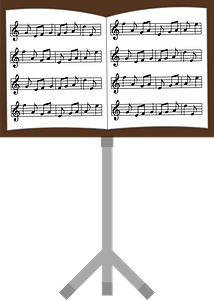 Musical score on a music stand clipart