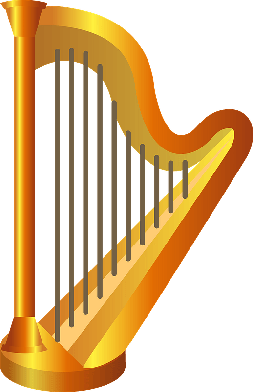 Harp musical instrument clipart