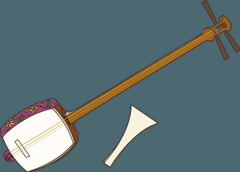Shamisen musical instrument clipart