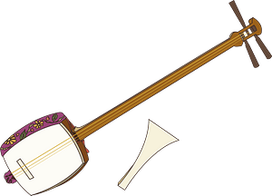 Shamisen musical instrument clipart