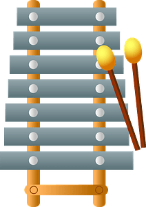 Xylophone and mallets clipart