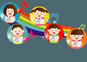 Children singing music rainbow clipart