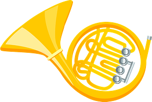 French horn clipart