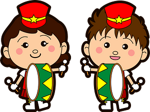 Marching band bass drum players clipart