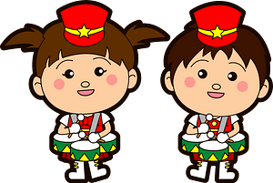 Marching band tenor drum players clipart