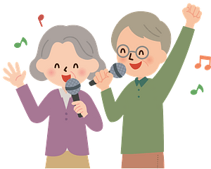Old couple karaoke sing clipart