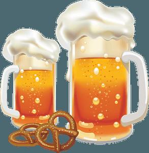Beer and pretzels clipart