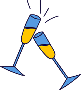 Glasses of champagne clipart